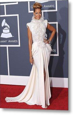 Rihanna Wearing An Elie Saab Haute Metal Print by Everett