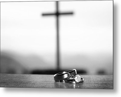 Metal Print featuring the photograph Rings And Cross by Kelly Hazel