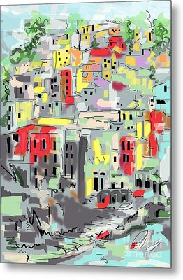 Riomaggiore Italy Moucasso Painting Metal Print by Ginette Callaway