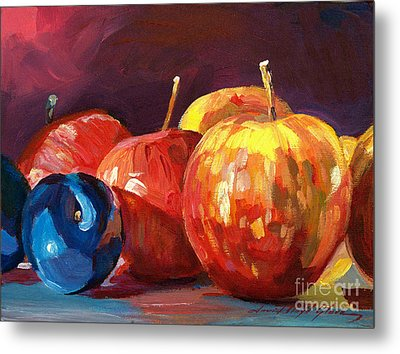 Ripe Plums And Apples Metal Print by David Lloyd Glover