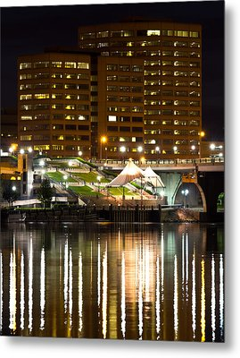 River Front At Night Metal Print by Frank Pietlock