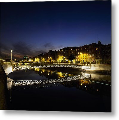 River Liffey, Millenium Footbridge At Metal Print by The Irish Image Collection