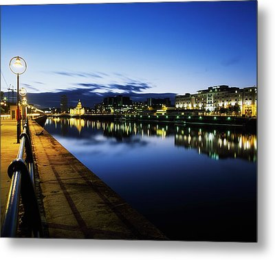 River Liffey, Sunset, View Of Customs Metal Print by The Irish Image Collection