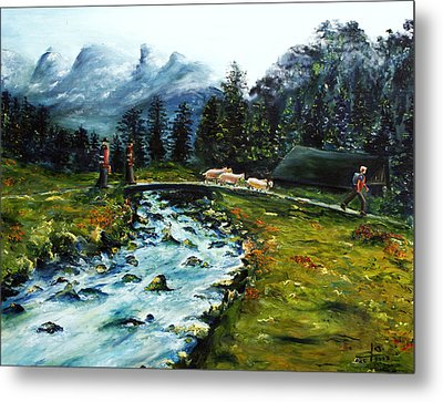 Metal Print featuring the painting River Of Dreams by Itzhak Richter