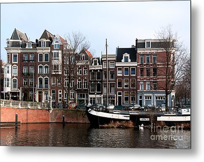 Metal Print featuring the digital art River Scenes From Amsterdam by Carol Ailles