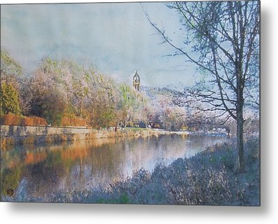 Metal Print featuring the painting River Walk Reflections Peebles by Richard James Digance