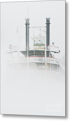 Riverboat In The Fog Metal Print by Jeremy Woodhouse