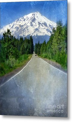 Road Leading To Snow Covered Mount Shasta Metal Print by Jill Battaglia