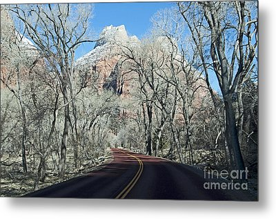 Metal Print featuring the photograph Road Through Zion Canyon by Bob and Nancy Kendrick