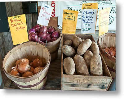 Roadside Produce Stand Onions Potatoes Shallots Metal Print by Denise Lett