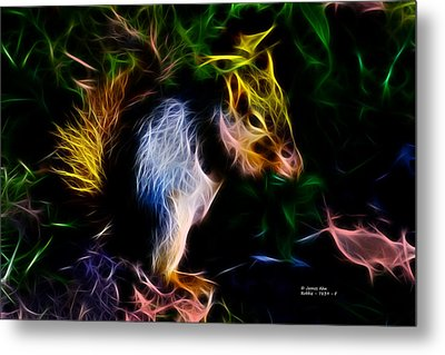 Robbie The Squirrel - 7839 - Fractal Metal Print by James Ahn