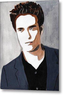 Metal Print featuring the painting Robert Pattinson 9 by Audrey Pollitt