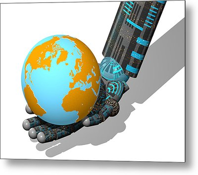Robotic Hand And Earth Metal Print by Laguna Design