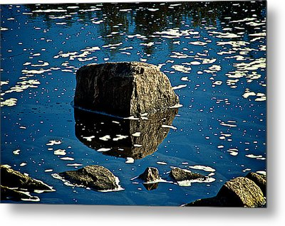 Rock Reflection In Blue Water Metal Print by Andre Faubert