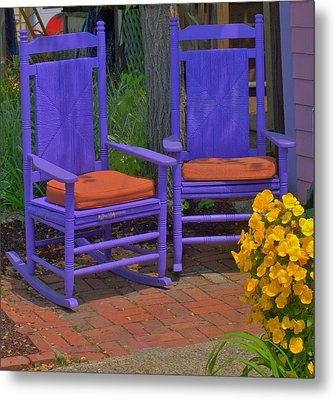 Metal Print featuring the photograph Rocking Chairs Of Gloucester by Caroline Stella