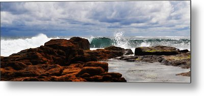 Rocks And Surf Metal Print by Phill Petrovic