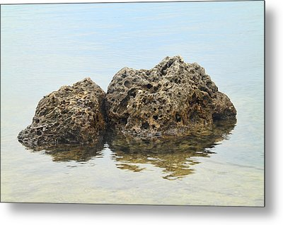 Rocks With Reflection Metal Print by Rudy Umans