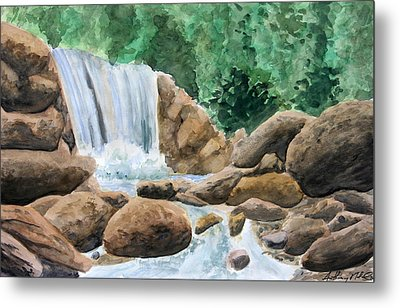 Rocky Waterfalls Metal Print by Anthony Nold