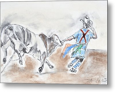 Metal Print featuring the drawing Rodeo Bullfighter by Jim  Arnold