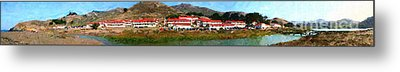 Rodeo Lagoon In The Marin Headlands California . Panorama . Painterly Style Metal Print by Wingsdomain Art and Photography