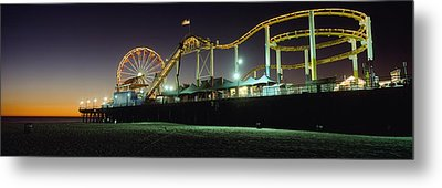 Rollercoaster And Ferris Wheel At Dusk Metal Print by Axiom Photographic
