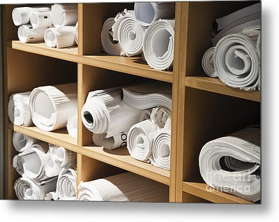 Rolls Of Blueprints In Cubbyholes Metal Print by Jetta Productions, Inc