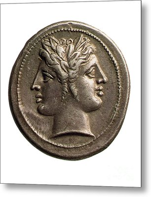 Roman Coin Featuring Janus Metal Print by Photo Researchers