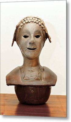 Roman Mask Torso Lady With Head Cover Face Eyes Large Nose Mouth Shoulders Metal Print