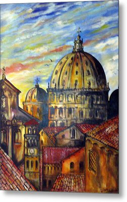 Metal Print featuring the painting Roman Roofs by Roberto Gagliardi