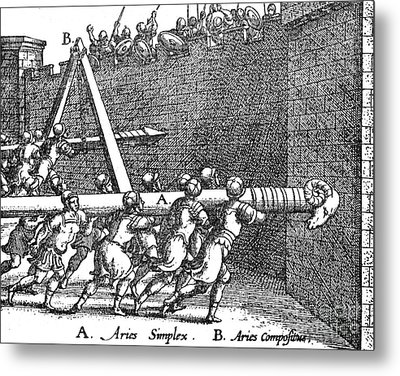 Roman Soldiers Attacking Fortress  Metal Print by Photo Researchers