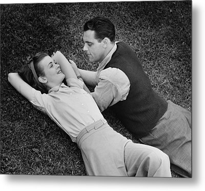 Romantic Couple Lying On Grass, (b&w), Elevated View Metal Print by George Marks