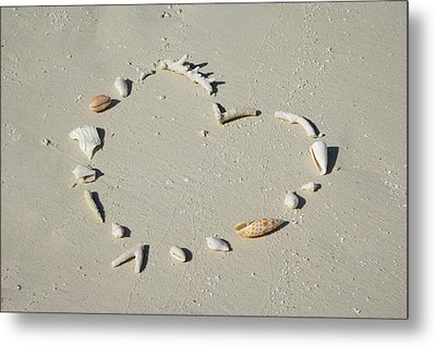 Romantic Message On Beach In Coral And Shells. Metal Print by Rosemary Calvert