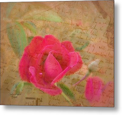 Romantic Rose Notes Metal Print by Cindy Wright