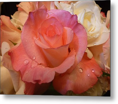 Metal Print featuring the photograph Romantic Roses And Raindrops by Cindy Wright