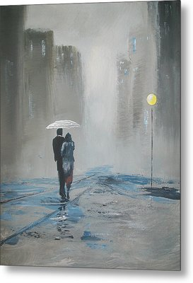 Romantic Walk In The Rain Metal Print by Raymond Doward