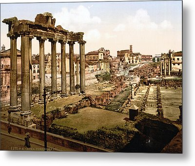 Rome, Ruins Of The Temple Of Saturn Metal Print by Everett