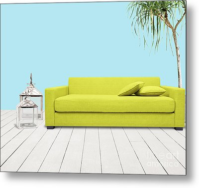 Room With Green Sofa Metal Print by Atiketta Sangasaeng