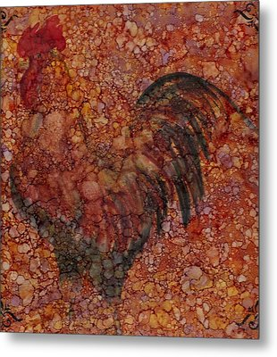 Rooster 4 Large Metal Print by Rosie Phillips