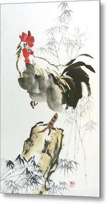 Metal Print featuring the painting Rooster by Yolanda Koh