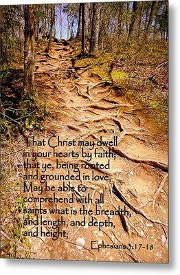 Rooted Path With Scripture Metal Print by Cindy Wright
