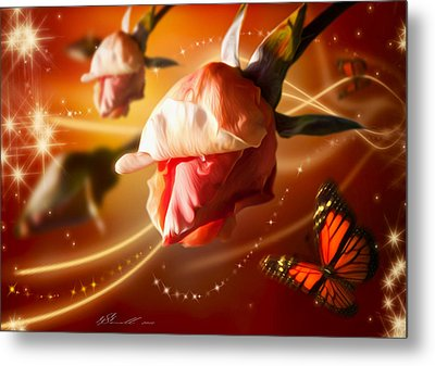 Rose And Butterfly Metal Print by Svetlana Sewell