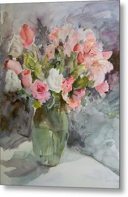 Rose And Lily Bouquet Metal Print by Betty J Bee
