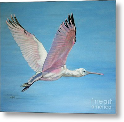 Metal Print featuring the painting Roseate Spoonbill In Full Flight by Jimmie Bartlett