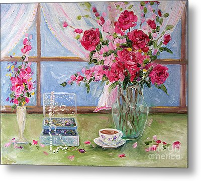 Roses And Pearls Metal Print by Jennifer Beaudet