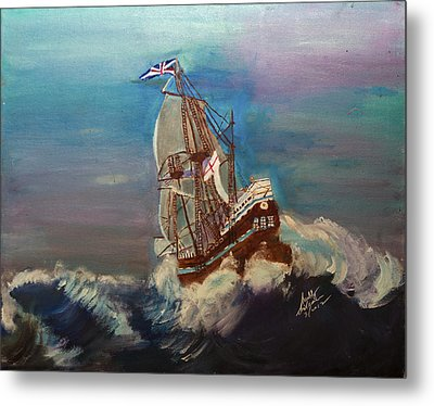 Metal Print featuring the painting Rough Seas by Swabby Soileau