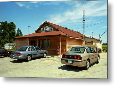 Route 66 - Old Log Cabin Metal Print by Frank Romeo