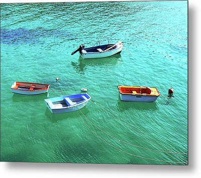 Row Boats On Turquoise Water Metal Print by Leniners