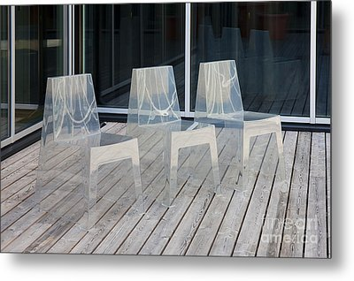 Row Of Modern Translucent Chairs Metal Print by Jaak Nilson