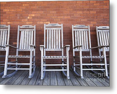 Row Of Rocking Chairs Metal Print by Skip Nall