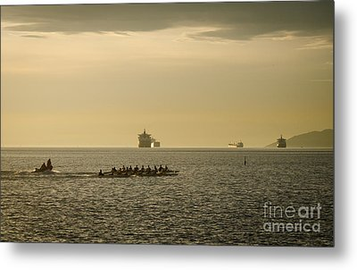 Rowing Training Off Sunset Beach Park False Creek Vancouver Bc Canada Metal Print by Andy Smy